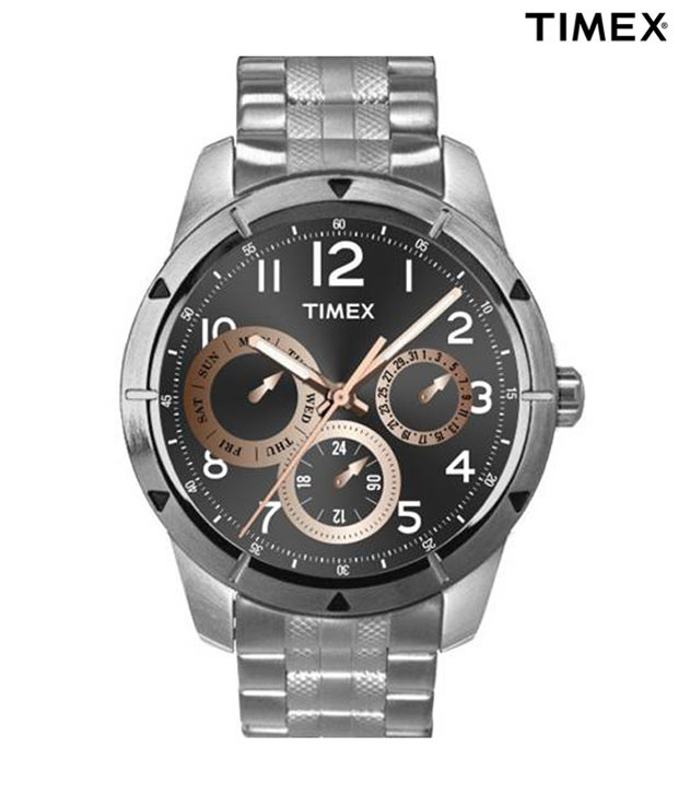 Timex E-Class Black & Silver Multi Dial Watch