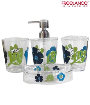 Freelance Multi-coloured Floral Design Bathroom Set - 4 Pcs