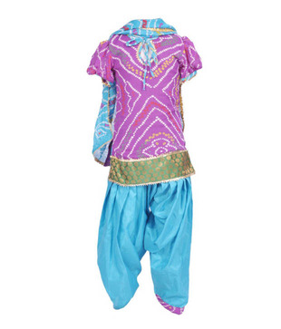 Kilkari Blue & Purple Salwar Suit For Kids