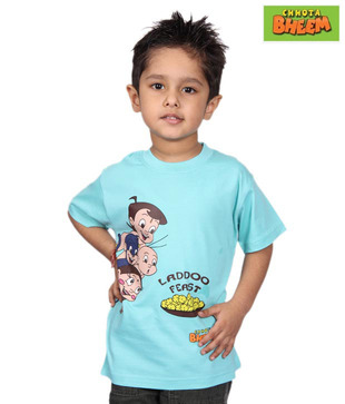 Chhota Bheem Sky Blue Ladoo Feast T-Shirt