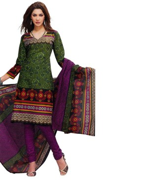 Salwar Studio Green   Violet Printed Cotton Unstitched Suit With Dupatta