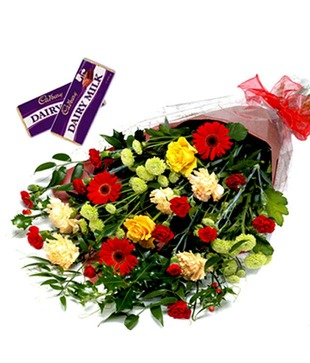 Floral Bouquet for Mom with Chocolates