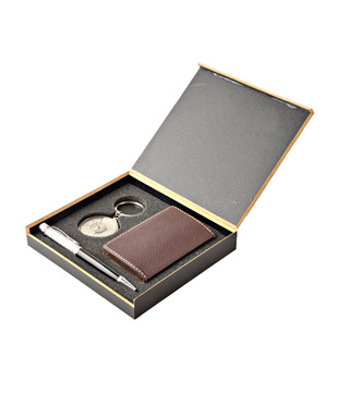Coal Brown Card Holder, Crystal Black Pen   50 years Calendar Keyring Gift Set