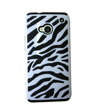 Amzer 95692 Zebra Hybrid Case - White PC + Black Silicone for HTC One