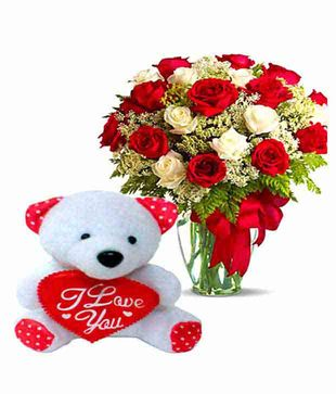 Mix Roses Vase Arrangement with Teddy Bear