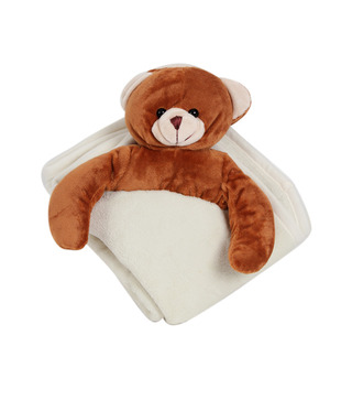 Keona Kidz Cream Baby Blanket With Teddy Motif