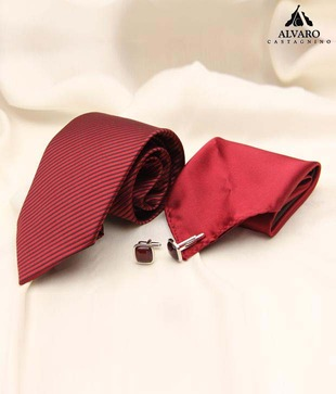Alvaro Cherry Red Diagonal Woven Stripes Necktie, Cufflinks   Handkerchief Gift Set