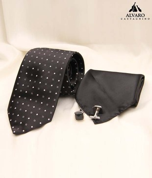 Alvaro Black Small Square Design Necktie, Cufflinks   Handkerchief Gift Set