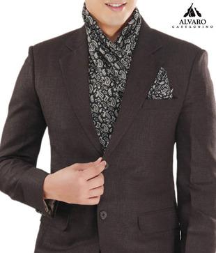Alvaro Black Paisley Scarf   Handkerchief Combo