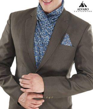 Alvaro Grey Blue Paisley Scarf   Handkerchief Combo