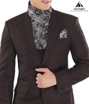 Alvaro Black Printed Scarf   Handkerchief Combo
