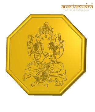 Anantamudra 4g 24 kt BIS Hallmarked Ganesha Gold Coin In 995 Purity
