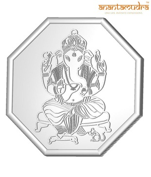 Anantamudra 100g 24 kt Certified Ganesha Silver Coin In 999 Purity