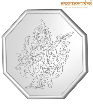 Anantamudra 100g 24 kt Certified Saraswathi Silver Coin In 999 Purity