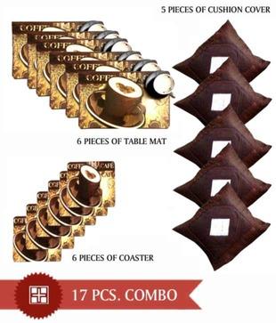 Fablooms Diamond Cushion Cover   Table Mats Combo- 17 pcs Living   Dining combo