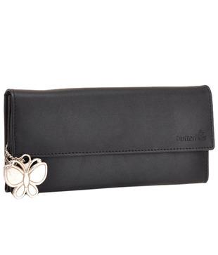 Butterflies Black Textured Finish Wallet