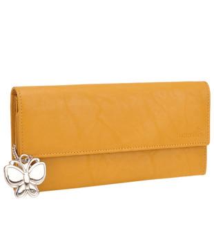 Butterflies Mustard Yellow Textured Finish Wallet
