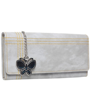 Butterflies Light Grey Textured Finish Wallet