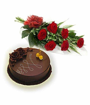 6 Red Roses Bouquet with 1/2 Kg Chocolate Cake Primary image