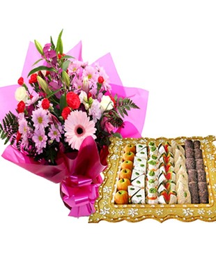 Assorted Sweets with Pink Flowers Bouquet