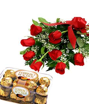 Crunchy Fererro Rocher with Red Roses for Mom