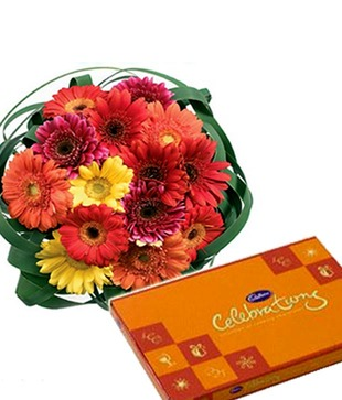Gerberas Bouquet with Celebration Chocolates