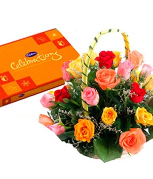 Mix Roses Basket with Celebrations for Mothers Day
