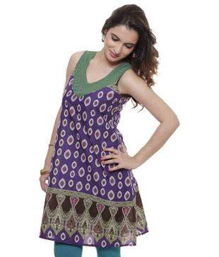 Fuchsia Women Purple Printed Cotton Kurti