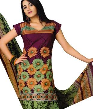 Salwar Studio Maroon   Green Printed Cotton Unstitched Suit With Dupatta