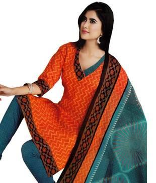 Salwar Studio Orange   Blue Printed Cotton Unstitched Suit With Dupatta