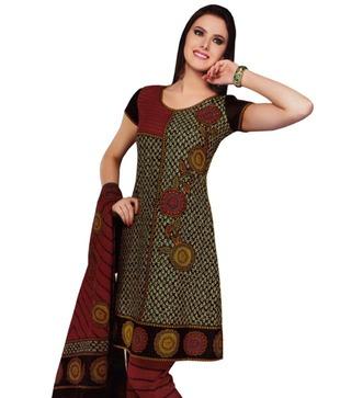 Salwar Studio Maroon   Black Printed Cotton Unstitched Suit With Dupatta