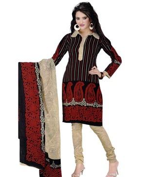 Salwar Studio Black   Cream Printed Cotton Unstitched Suit With Dupatta