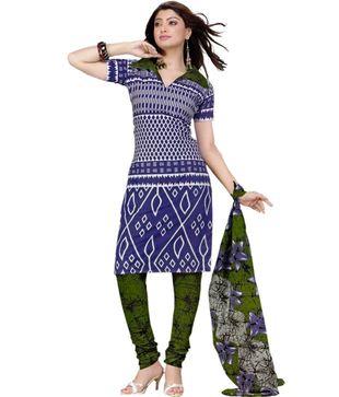 Salwar Studio Blue   Green Printed Cotton Unstitched Suit With Dupatta