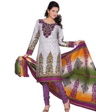 Salwar Studio White Art Crepe Unstitched Suit With Dupatta