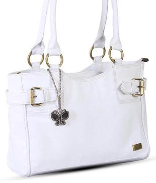 Butterflies White Smooth Finish Handbag