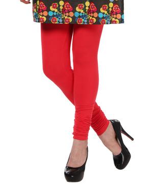 Femmora Ravishing Red Cotton Spandex Leggings