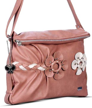 Butterflies Pink Flowers Embellished Sling Bag