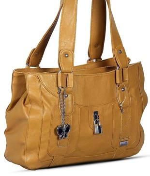 Butterflies Mustard Lock Design Handbag