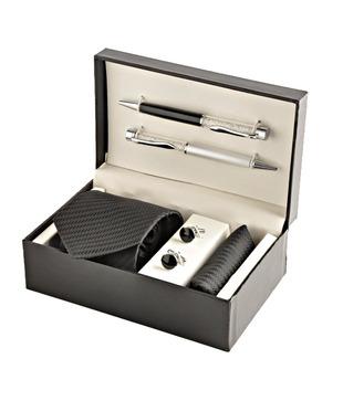 Coal Black Necktie, Pocket Square, Cufflinks   Crystal Filled Pens Gift Set