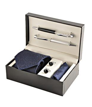 Coal Royal Blue Necktie, Pocket Square, Cufflinks   Crystal Filled Pens Gift Set