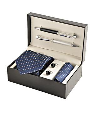 Coal Royal Blue Patterned Necktie, Pocket Square, Cufflinks   Crystal Filled Pens Gift Set