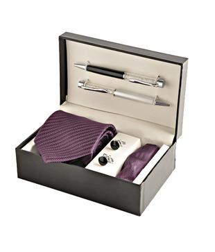 Coal Royal Purple Zigzag Necktie, Pocket Square, Cufflinks   Crystal Filled Pens Gift Set