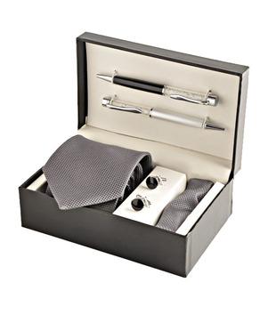 Coal Royal Grey Necktie, Pocket Square, Cufflinks   Crystal Filled Pens Gift Set