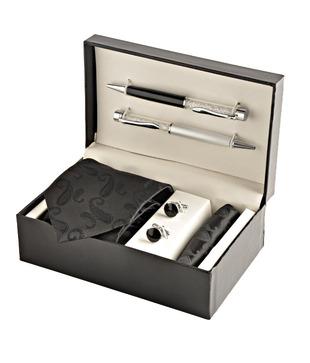Coal Royal Black Paisley Necktie, Pocket Square, Cufflinks   Crystal Filled Pens Gift Set