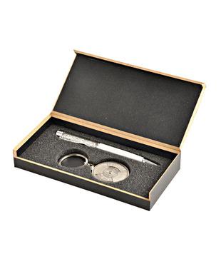 Coal Crystal Silver Pen   50 years Calendar Keyring