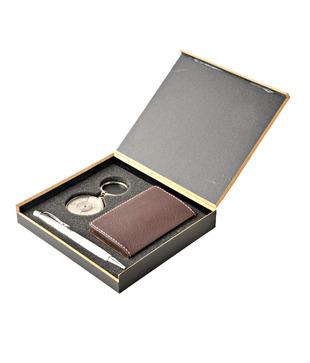 Coal Brown Card Holder, Crystal Silver Pen   50 years Calendar Keyring Gift Set