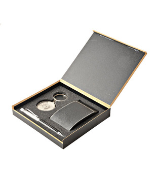 Coal Black Flapped Card Holder, Crystal Black Pen   50 years Calendar Keyring Gift Set