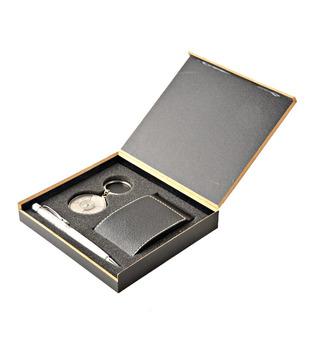 Coal Black Flapped Card Holder, Crystal Silver Pen   50 years Calendar Keyring Gift Set