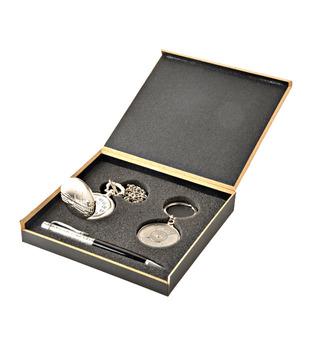 Coal Sliver Pocket Watch, Crystal Black Pen   50 years Calendar Keyring Gift Set