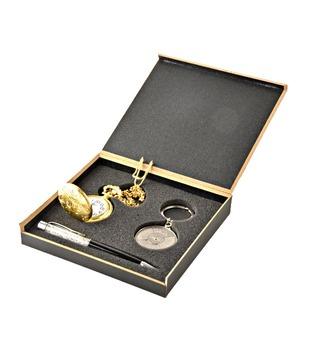 Coal Golden Pocket Watch, Crystal Black Pen   50 years Calendar Keyring Gift Set